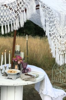 lace umbrealla with small table setting