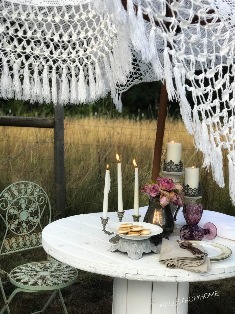 How to Make a Boho Chic Lace Umbrella candles plate of ice cream sandwiches and purple cups