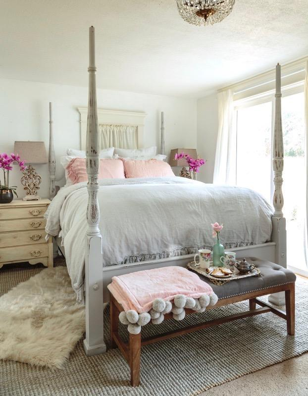 Shabby French bedroom with Chalk Painted bed frame