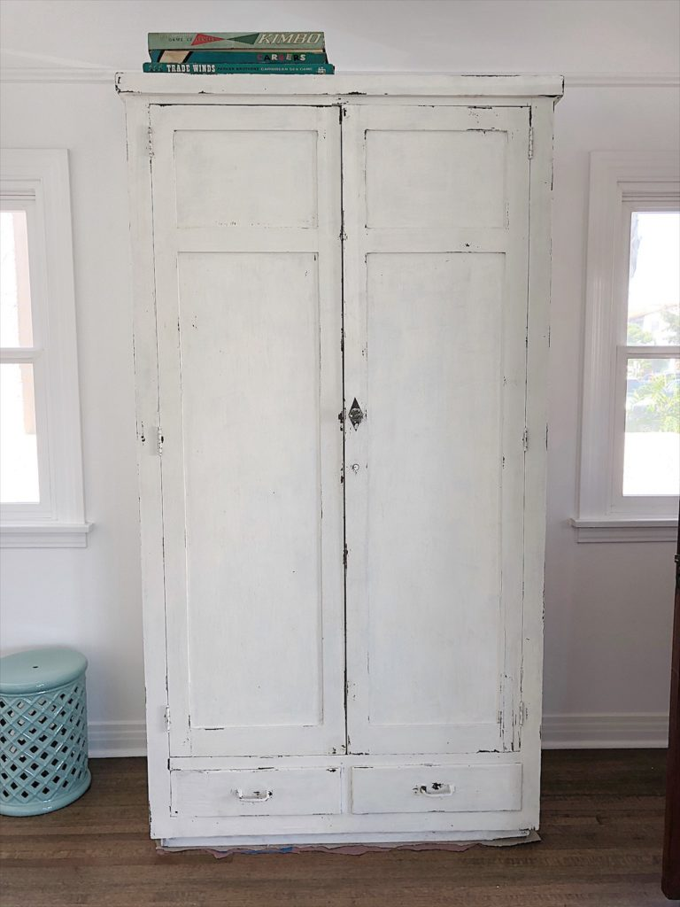 white chippy armoire