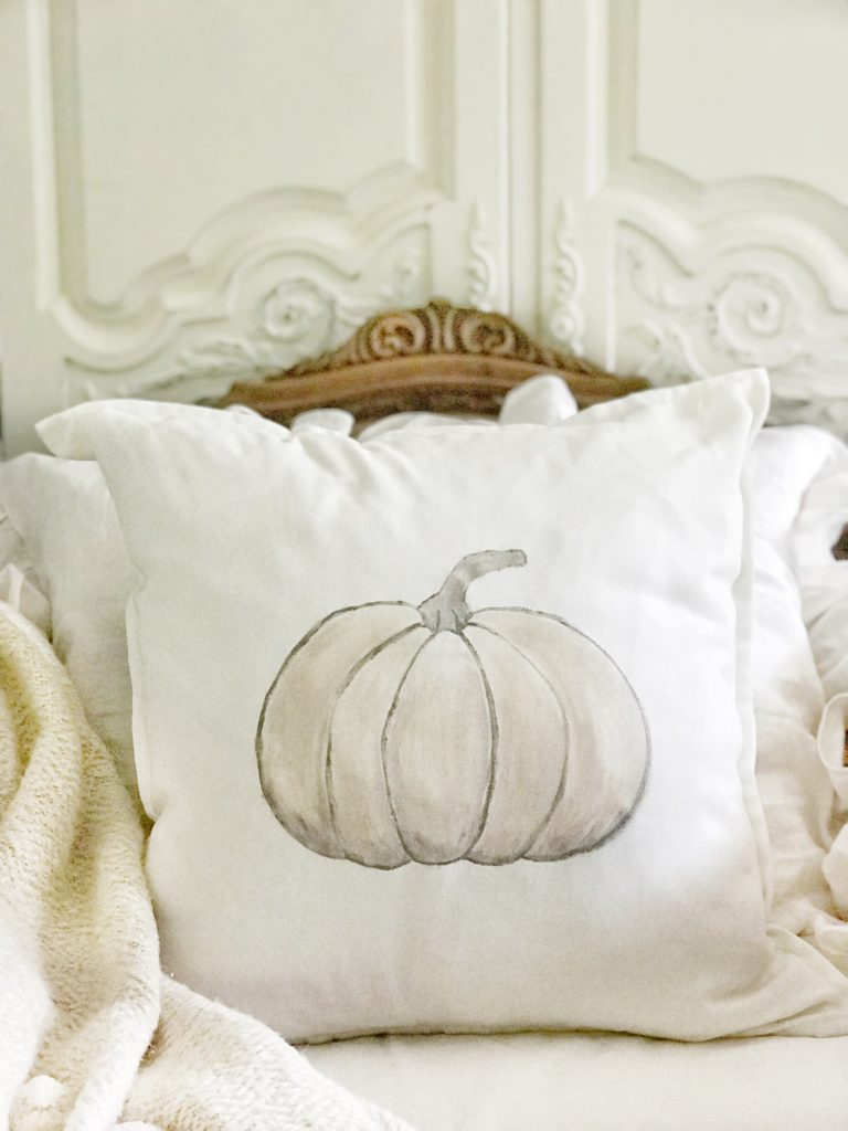 pumpkin white pillow