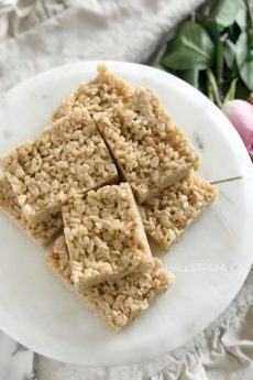 The Best Salted Caramel Rice Krispie Treats You Will Love plate of 7 of them