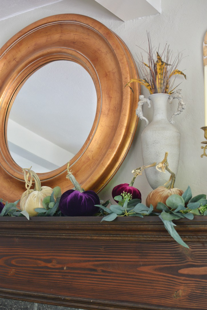 How to Style Beautiful Velvet Pumpkins on a Fall Farmhouse Mantel|velvet pumpkins|original velvet pumpkins|how to style|how to style velvet pumpkins|shabby chic|fall mantel|fall home decor|fall pumpkins|fall velvet pumpkins|original velvet pumpkins|hallstromhome.com