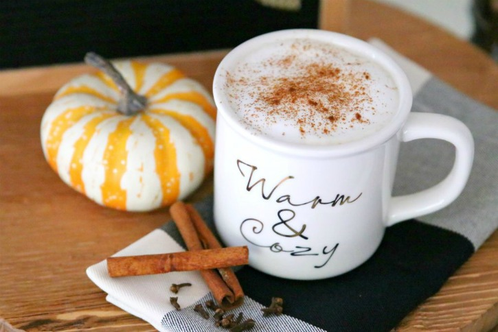 cup of coffee with cinnamon sticks and pumpkin