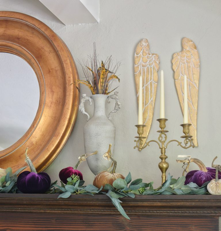 How to Style Beautiful Velvet Pumpkins on a Fall Farmhouse Mantel