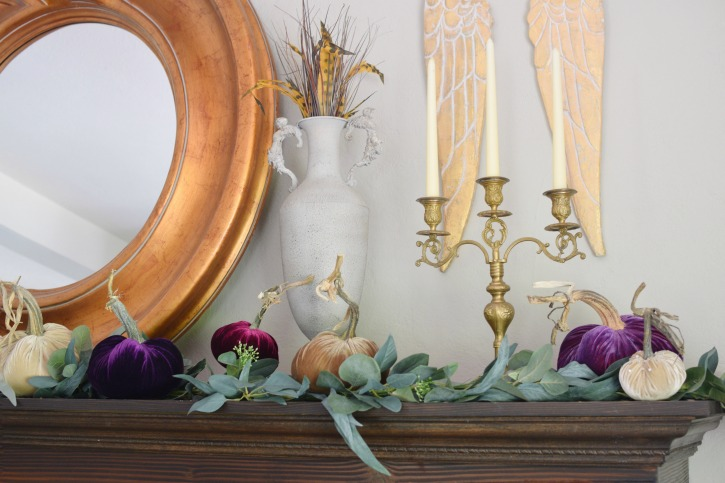 How to Style Beautiful Velvet Pumpkins on a Fall Farmhouse Mantel|velvet pumpkins|original velvet pumpkins|how to style|how to style velvet pumpkins|shabby chic|fall mantel|fall home decor|fall pumpkins|french home decor|fall velvet pumpkins|original velvet pumpkins|hallstromhome.com