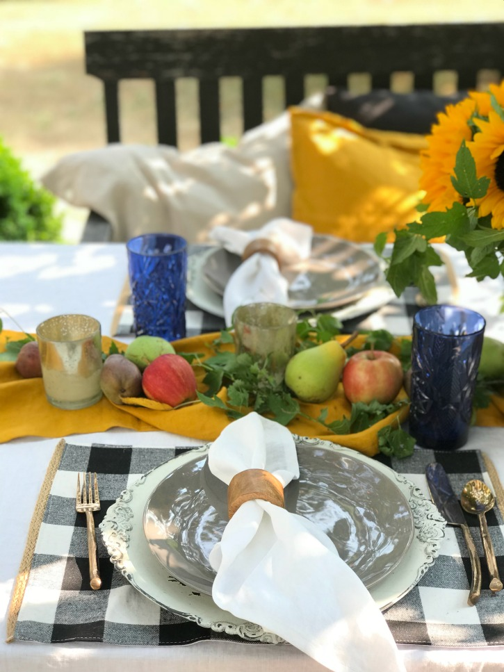 close up of fall table setting