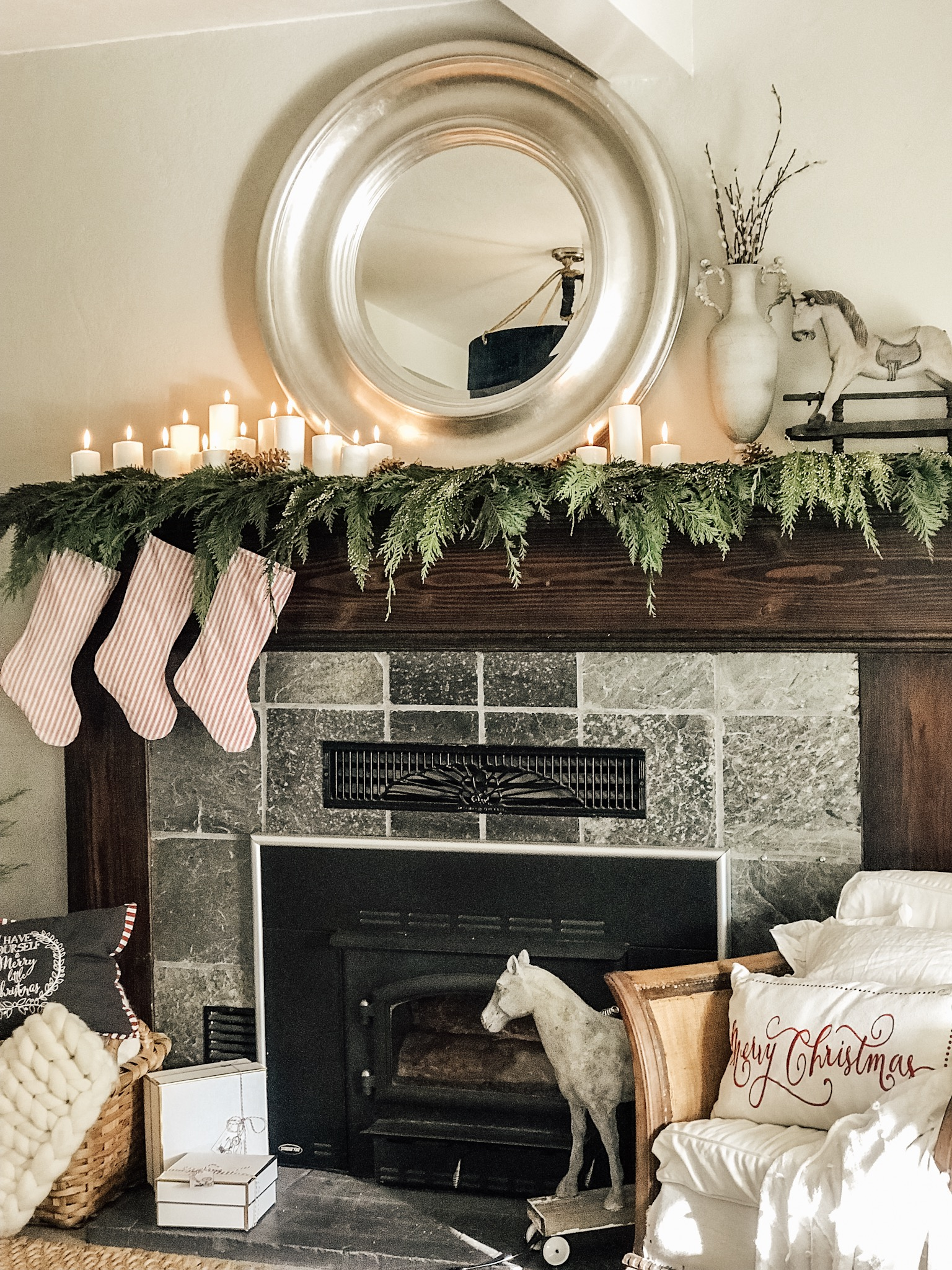 Our Modern Farmhouse Christmas Mantel