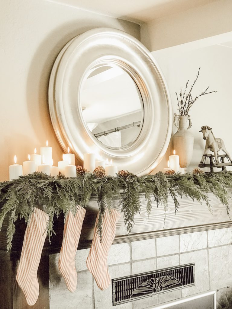 Our Modern Farmhouse Christmas Mantel|farmhouse Christmas decorating ideas|farmhouse christmas ideas|vintage farmhouse christmas|blog hop|christmas mantel|farmhouse christmas|diy farmhouse Christmas decor|rustic farmhouse christmas decor|hallstromhome