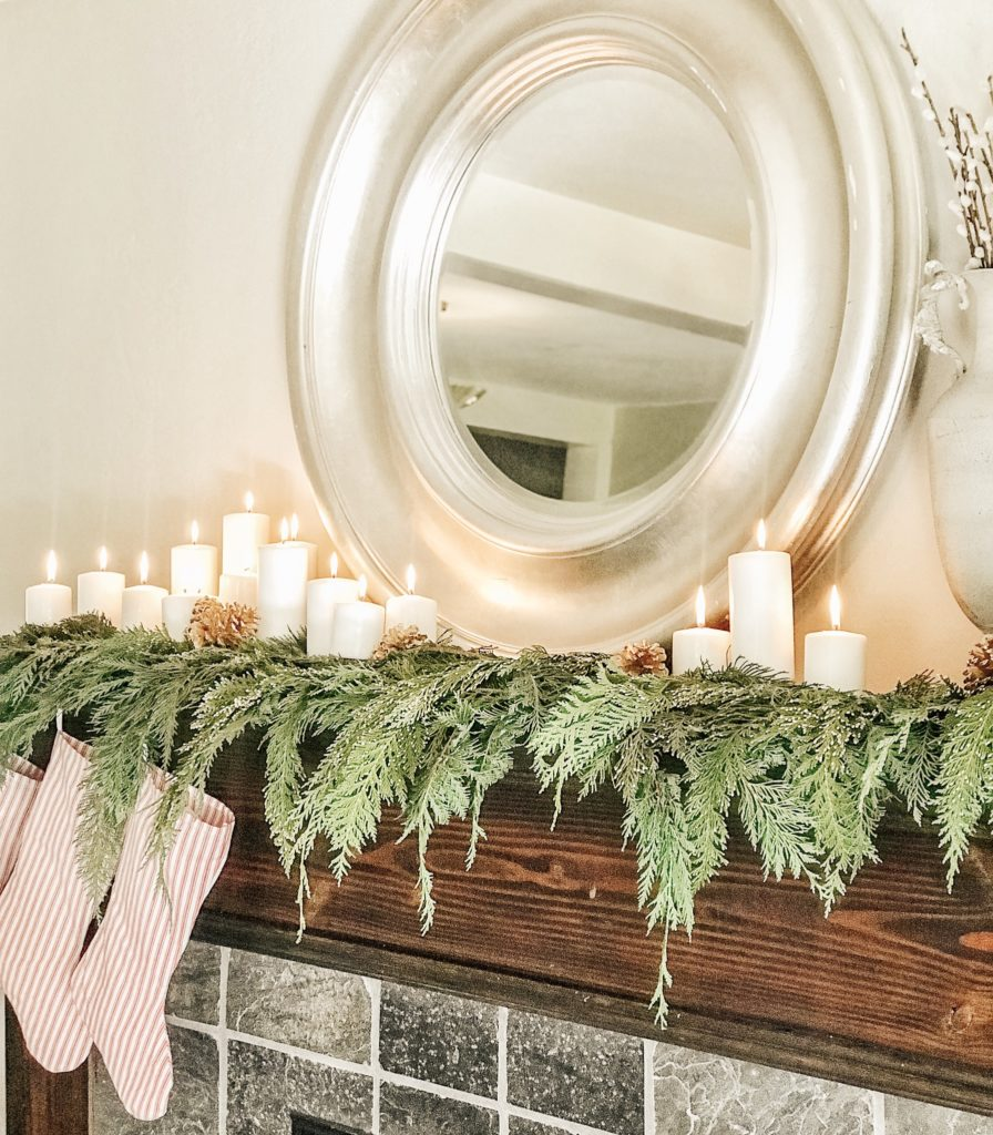 Our Modern Farmhouse Christmas Mantel|farmhouse Christmas decorating ideas|farmhouse christmas ideas|vintage farmhouse christmas|bloggers Christmas decor|christmas mantel|farmhouse christmas|diy farmhouse Christmas decor|rustic farmhouse christmas decor|hallstromhome