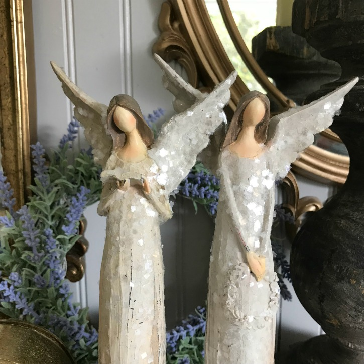 Not Your Grandmother's French Decor|french decor|french shabby chic|french farmhouse|romantic home|romantic home decor|french country|charming home decor|romantic boudoir|angel statue|angel|cherub|french country Christmas|shabby chic Christmas decor|hallstromhome