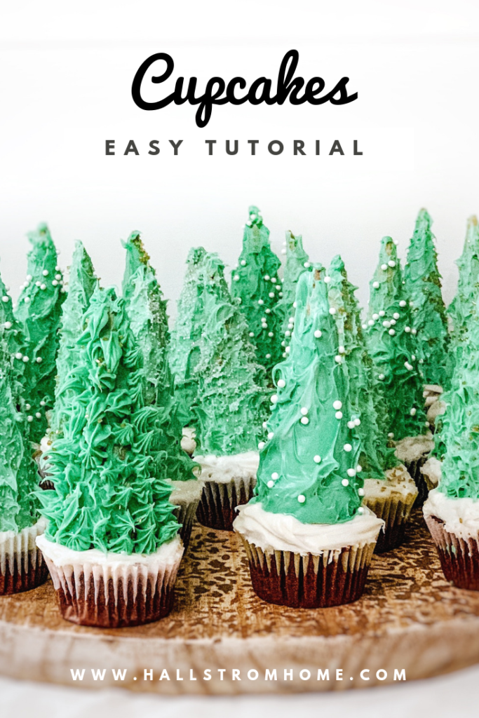 Christmas Tree Cupcakes with Sugar Cones|christmas cupcakes|christmas cupcake ideas|christmas recipes|holiday recipes|dessert|christmas dessert|kids recipes|recipes kids can make|ice cream cone tree|christmas tree cupcake|hallstromhome