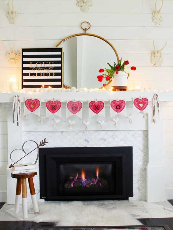Fabric Covered Bulletin Board-Fast & Easy DIY|diy framed cork board|diy washi tape tutorial|washi tape crafts|3 ingredients crafts|how to make a pin board with cork board|diy crafts|kids crafts|easy diy crafts|crafts for kids|felt flowers|banner|cork board|fabric bulletin board|bulletin board with banner|valentines party|valentines decor|holiday decor|hallstrom home