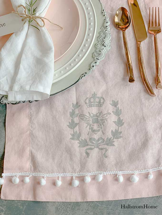 How to Stencil Tea Towel Tutorial with Chalk Paint|stenciled tea towel|Vintage kitchen tea towels|painted dish towels|decorating tea towels|how to stencil a tea towel|farmhouse diy|diy craft|kids craft|french cottage|french bee stencil|home decor|shabby chic|hallstrom home
