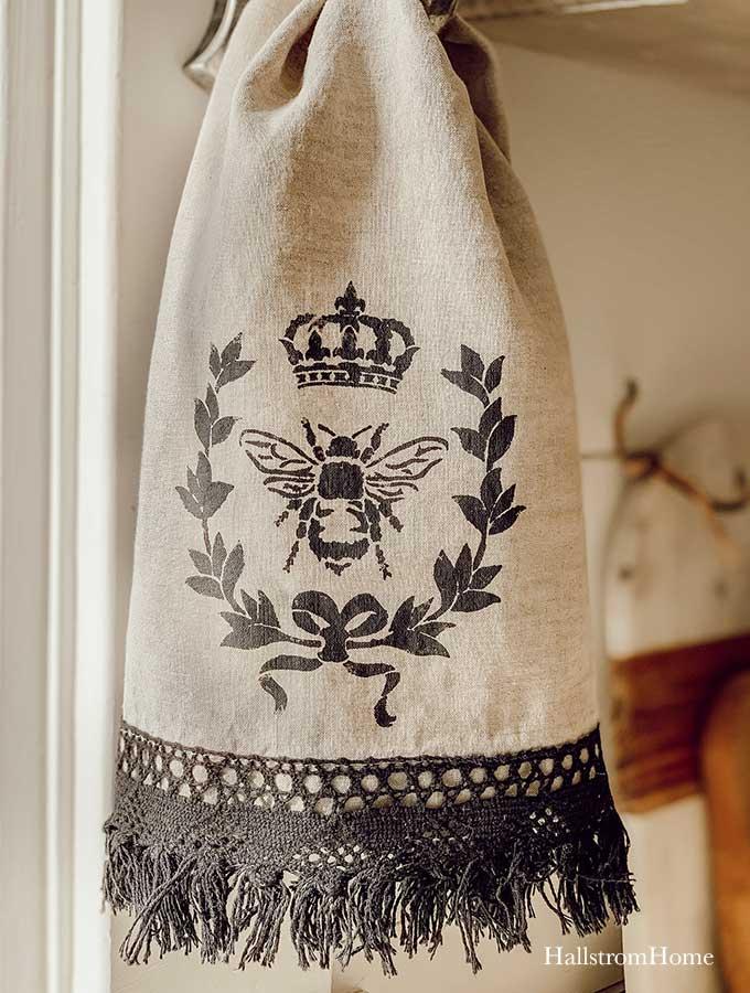 Stencil Tea Towel Tutorial With Chalk Paint Hallstrom Home