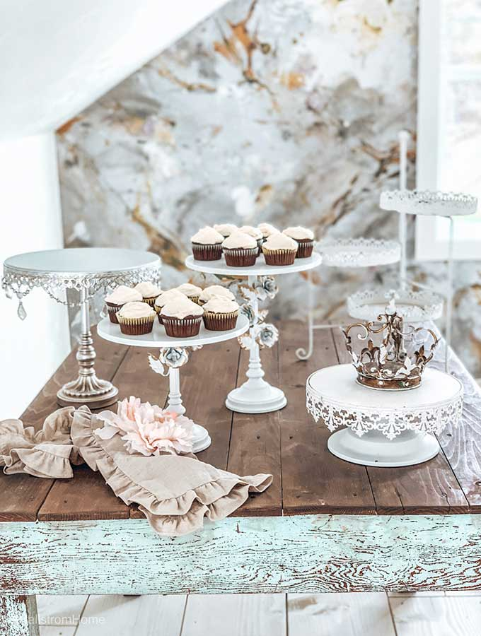 Tier Cake Stand Decorative Ideas|Cake stand centerpieces|Cake Stand Ideas|Decorating cake stand without cake|cake stand without cake|wedding cake stand|tier cake stand|tiered cake stand|cake stand decorating ideas|shabby chic Cake stand|wedding cupcake stand|cupcake stand|serving tray|cake stand with flowers|three tiered cake stand|how to decorate 3 tiered cake stand|wedding decor|shabby chic wedding|HallstromHome