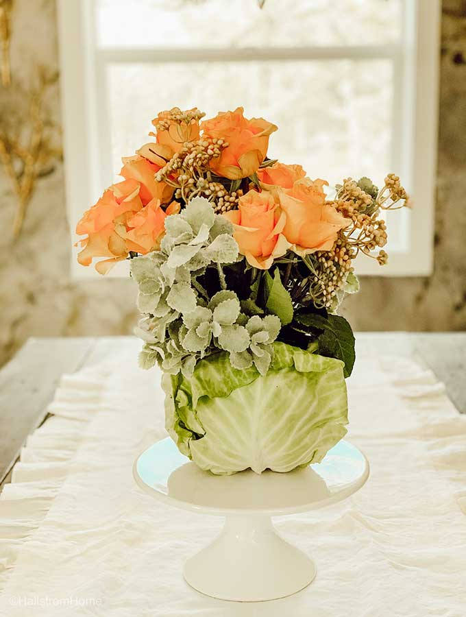 DIY Cabbage Flower Arrangement|cabbage arrangement|floral arrangement|mothers day arrangement|diy floral arrangements|how to make a flower arrangement|floral arrangement for Spring|tablescape for Spring|how to make Spring floral arrangements|Spring bouquet|farmhouse tablescape|spring decor|spring tutorial|spring diy|Hallstrom Home
