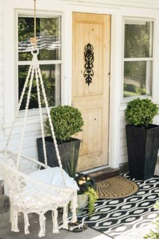Hygge Porch Design with Swing|hygge life|hygge products|adding hygge|hygge chairs|hygge decor|simple porch designs|Scandinavian Porch|porch design ideas|boho porch|boho home|bohemian decor|Hallstrom Home