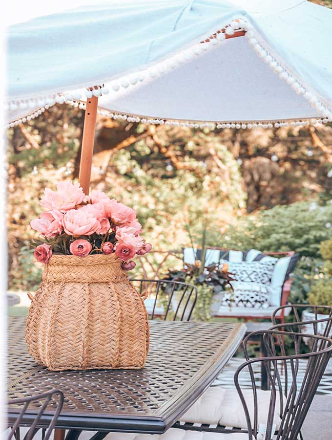 DIY Umbrella Cover with Pom Poms|diy umbrella|diy patio umbrella|outdoor umbrella|how to make umbrella from scratch|how to make patio umbrella|how to replace umbrella fabric|shabby chic|boho decor|patio decor|shabby chic patio|farmhouse patio|bohemian patio|easy diy|easy diy umbrella|summer crafts|summer diy|Yard diy|garden diy|garden craft|easy craft|Hallstrom Home