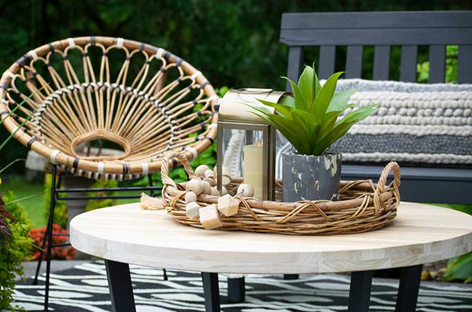 Sophisticated Bohemian Outdoor Setting|Article|Boho Patio|rattan furniture|decorate bohemian|patio update|outdoor entertaining| myarticle|boho home decor|sophisticated boho|scandinavian home|boho outdoor furniture|bohemian furniture|boho chic patio ideas|boho outdoor spaces|bohemian outdoor rug|Hallstrom Home