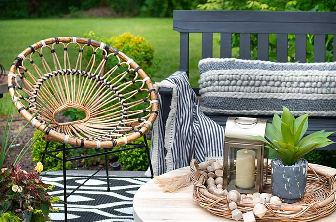 Sophisticated Bohemian Outdoor Setting |Article|Boho Patio|decorate bohemian|patio update|outdoor entertaining| myarticle|boho home decor|sophisticated boho|scandinavian home|boho outdoor furniture|bohemian furniture|boho chic patio ideas|boho outdoor spaces|bohemian outdoor rug|Hallstrom Home