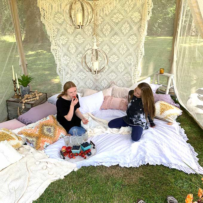 Backyard Glamping\6 Easy Ideas|glamping site|how to glamp|backyard glamping|glamping tent plans|backyard camping tent|romantic glamping|backyard canopy|backyard glamping party|how to build a glamping site|outdoor party|Hallstrom Home