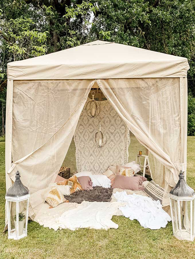 Backyard Glamping\6 Easy Ideas |glamping site|how to glamp|backyard glamping|glamping tent plans|backyard camping tent|romantic glamping|backyard canopy|backyard glamping party|how to build a glamping site|outdoor party|Hallstrom Home
