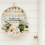 Tobacco Basket Wall Hanging with Flowers |tobacco basket decor|tobacco basket wreath|farmhouse wreath|farmhouse wall decor|shabby chic decor|farmhouse style|tobacco basket decor|farmhouse tobacco wreath|pumpkin decor|pumpkin tobacco wreath|outdoor wreath|hallstrom home