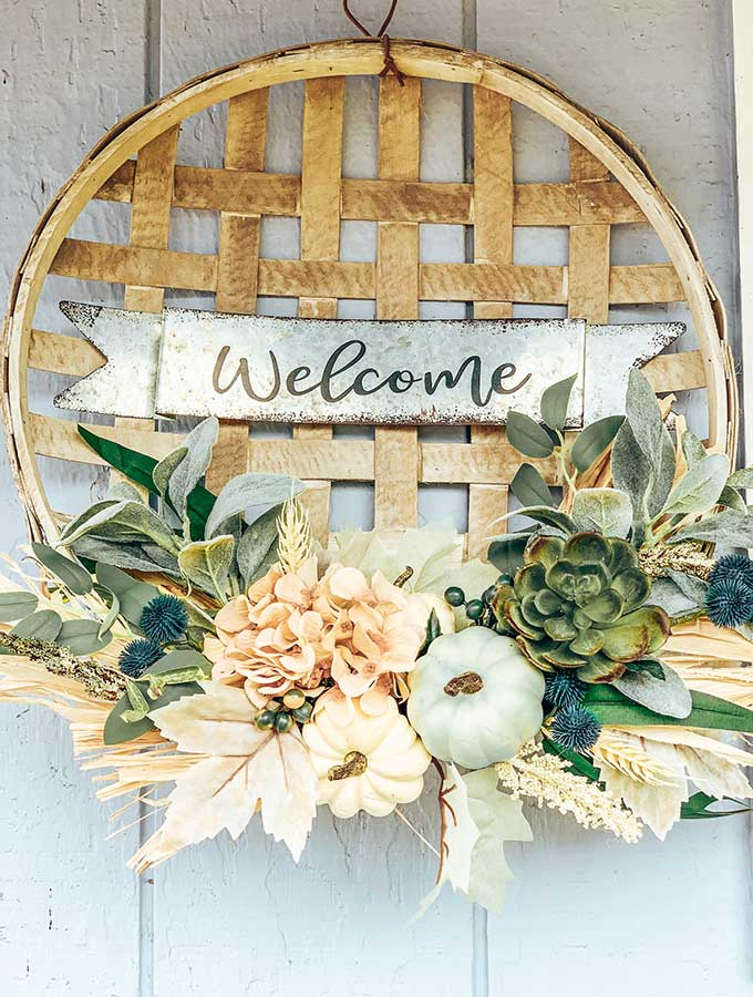 Tobacco Basket Wall Hanging with Flowers  tobacco basket decor tobacco basket wreath farmhouse wreath farmhouse wall decor shabby chic decor farmhouse style tobacco basket decor farmhouse tobacco wreath pumpkin decor pumpkin tobacco wreath outdoor wreath hallstrom home