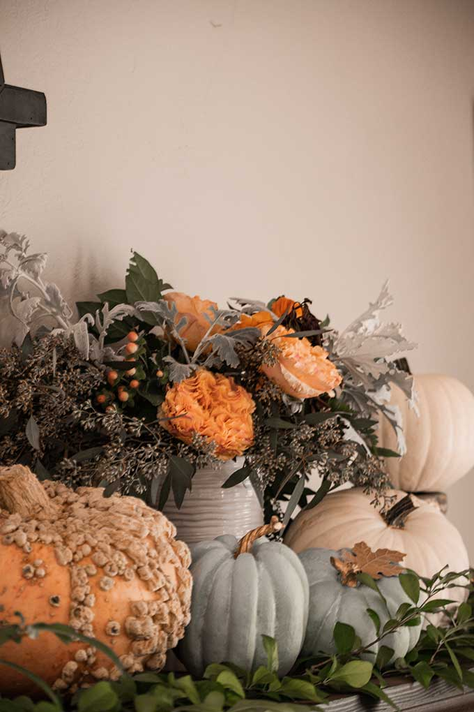 Decorate for Fall on a Budget |diy fall decorations|budget decorating|farmhouse decor|fall decor|mansard mirror|pumpkin fall mantel|easy fall mantel|simple fall decor|frugal fall decorating|fall diy mantel|budget decorating|fall pumpkins|diy mantel decor|fall home tour|Hallstrom Home
