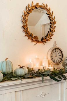 Fall Mantel Decor with Chalk Painted Pumpkins |simple mantel|simple fall mantel|cozy home|hygge home|easy diy|fall diy|fall crafts|gold leaf mirror|chalk paint craft|chalk paint diy|fall mantel decor|Fall home decor|fall farmhouse|farmhouse style|diy fall pumpkins|chalk painting pumpkins|painting pumpkins diy|neutral fall mantelshabby chic mantel|Hallstrom Home