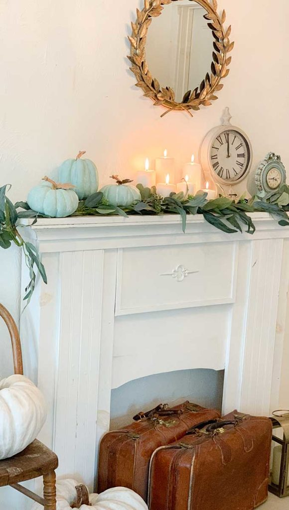 Fall Mantel Decor With Chalk Painted Pumpkins Hallstrom Home