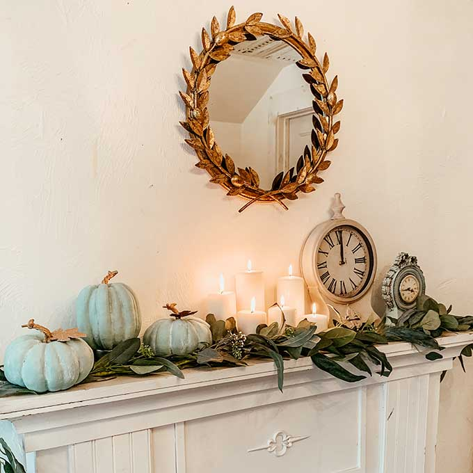 Fall Mantel Decor with Chalk Painted Pumpkins