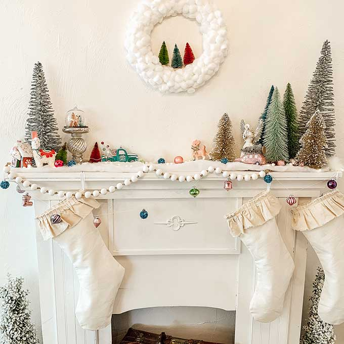 DIY Cotton Ball Wreath Tutorial/ holiday mantle decor/ kids craft/ White Christmas wreath/ Farmhouse Christmas wreath tutorial/ Easy holiday craft/wreath craft\Christmas Craft\colorful Christmas\christmas decor\shabby chic christmas\HallstromHome