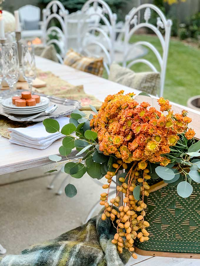 DIY Floral Pumpkin Table Centerpiece |fall diy|fall tablescape|farmhouse table|fall farmhouse|pumpkin centerpiece|floral pumpkin centerpiece|decorated pumpkin|shabby chic fall decor|stacked pumpkin centerpiece| HallstromHome