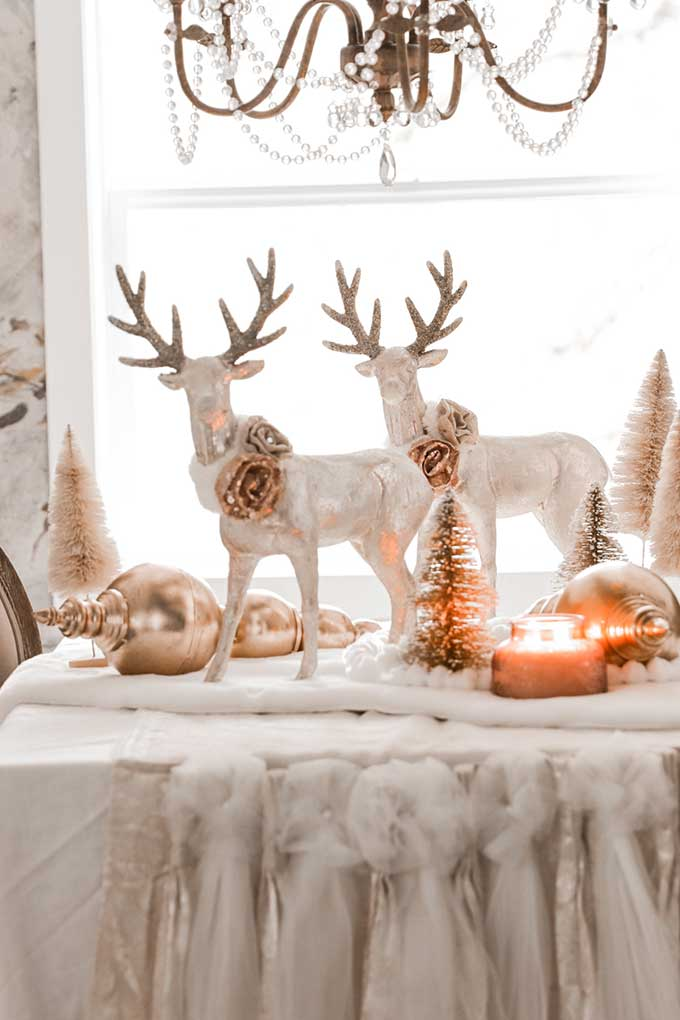 Winter Tablescape with Pom Poms|deer tablescape|winter table|farmhouse style|shabby chic decor|shabby chic winter|cottage chic|winter table scene|winter deer|pom pom diy|gold winter|white and gold christmas|gold christmas|christmas scene|winter tablescape|farmhouse winter|farmhouse Christmas|Hallstrom Home