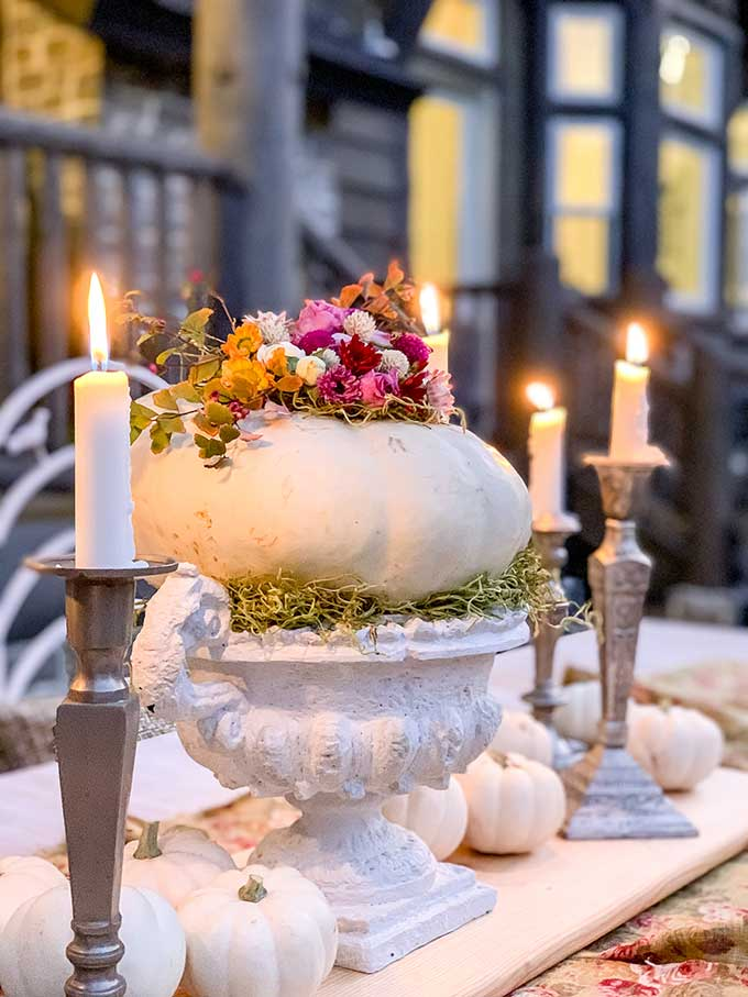 DIY Floral Pumpkin Table Centerpiece