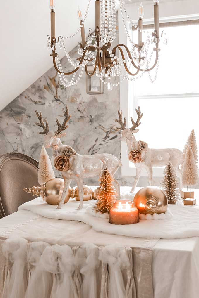 Winter Tablescape with Pom Poms |deer tablescape|winter table|farmhouse style|shabby chic decor|shabby chic winter|cottage chic|winter table scene|winter deer|pom pom diy|gold winter|white and gold christmas|gold christmas|christmas scene|winter tablescape|farmhouse winter|farmhouse Christmas|Hallstrom Home