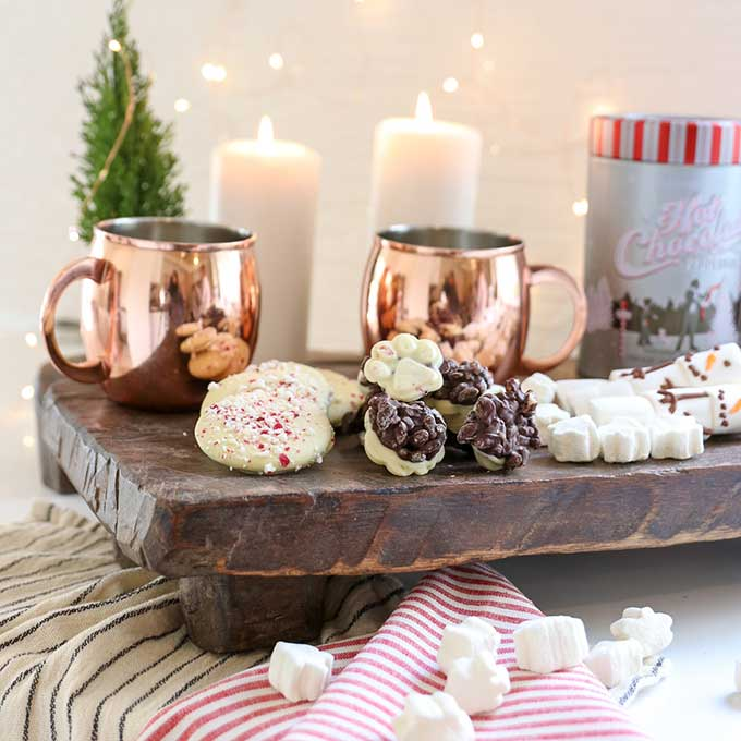 5 Tips to Make A Hot Cocoa Charcuterie Board |Christmas Charcuterie Board|Holiday Party|Party Planning|Christmas Charcuterie Board|Copper Mugs|Hot Cocoa Party| Hot Chocolate Party|Dessert Tray|Farmhouse Christmas|White Christmas|Christmas Gifts|Christmas DIY|Holiday DIY|Kids Christmas|Hallstrom Home
