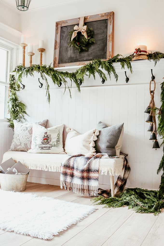 Farmhouse Entry with Fresh Holiday Garland