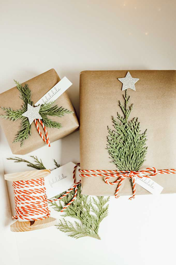 Natural Holiday Gift Wrap with Greenery