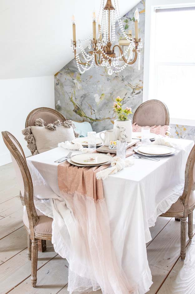 Spring Table Setting Decorating Ideas|Farmhouse Tablescape|Spring Table|Easter table|Spring Table Decor|How to decorate table|bunny plates|easter plates|easter style|Farmhouse easter|shabby chic home decor|tablescape ideas|white farmhouse|easter styling|Hallstrom Home