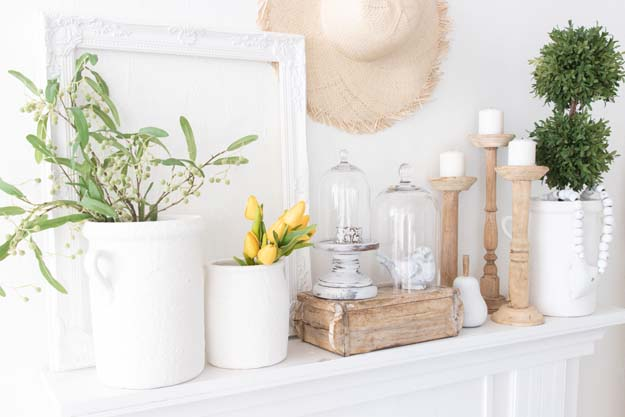 Spring Mantel Decor Trends |modern mantel|mantel decor|styling tips|white farmhouse|farmhouse decor|farmhouse style|boho decor|Terra cotta pots|wood home decor|wood farmhouse|white decor|spring decor|spring style|spring mantel|spring farmhouse|Hallstrom Home