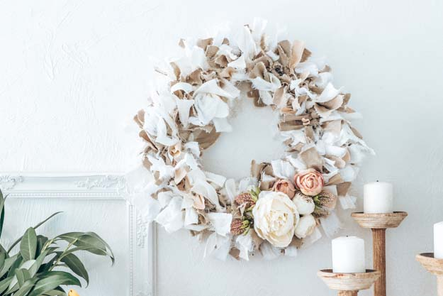 Fabric Rag Wreath Tutorial|Rag Wreath|Farmhouse Wreath DIY|Tattered Wreath|Tattered Wreath Tutorial|Fabric Wreath DIY|shabby chic wreath|Fabric Rag Wreath DIY|Linen Wreath|Shabby Chic|Shabby Chic Decor|SPring Wreath|Farmhouse Style|Farmhouse tutorial|floral wreath|Hallstrom Home