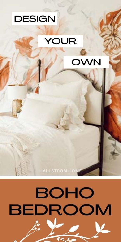 Boho Teen Girl Bedroom Design |teen girl|girls bedroom|floral wallpaper| boho bedroom ideas|boho style|wall mural|floral wall mural|shabby chic|farmhouse bedroom|teen girls style|girls boho bedroom|linen bedding|velvet bedding|teen girl bedroom decor|bedroom ideas|HallstromHome