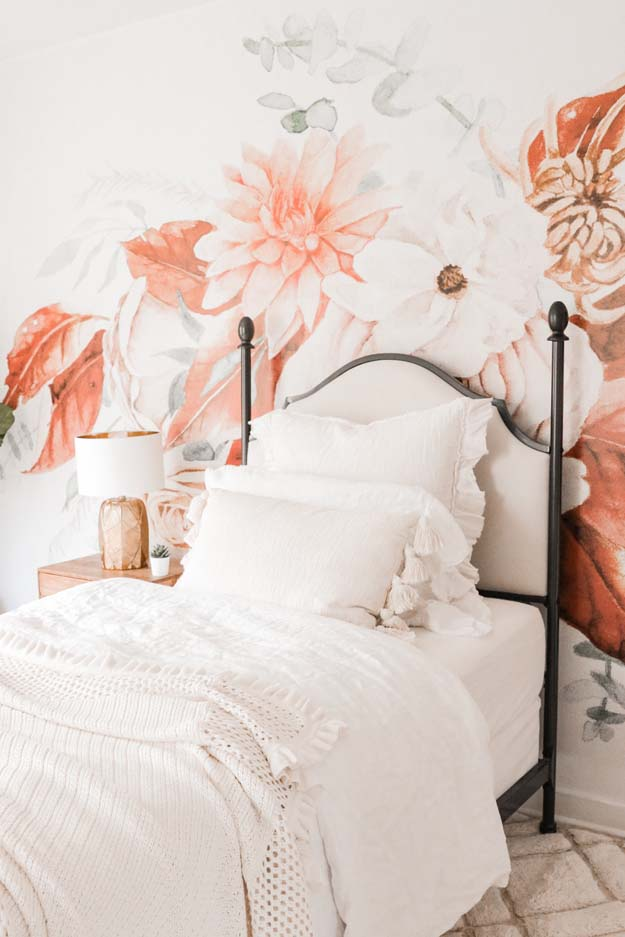 Boho Teen Girl Bedroom Design |teen girl|girls bedroom|floral wallpaper| boho bedroom ideas|boho style|wall mural|floral wall mural|shabby chic|farmhouse bedroom|teen girls style|girls boho bedroom|linen bedding|velvet bedding|teen girl bedroom decor|bedroom ideas|HallstromHome
