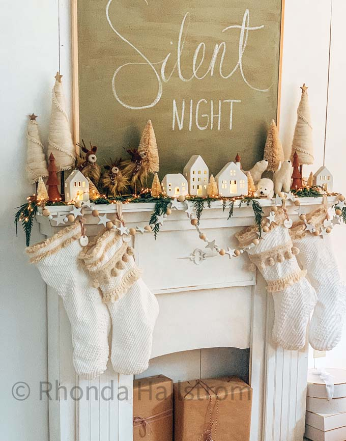 DIY Boho Christmas Stocking and Holiday Mantel |holiday decor|christmas mantel|anthropologie inspired|boho christmas|boho decor|diy stocking|Christmas stocking tutorial|farmhouse christmas|christmas mantel decor|pom pom stocking|white christmas|diy christmas|christmas craft|HallstromHome