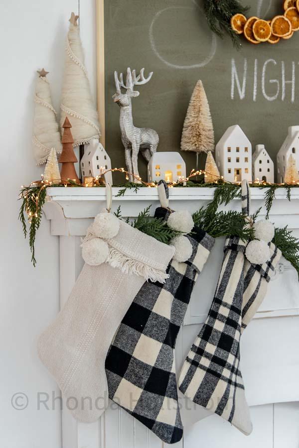 11 Farmhouse Christmas Stocking Ideas |Christmas stockings|ticking stripe stocking|farmhouse decor|christmas stocking ideas|farmhouse christmas|white christmas|shabby chic|christmas mantel|french christmas|christmas decor|HallstromHome