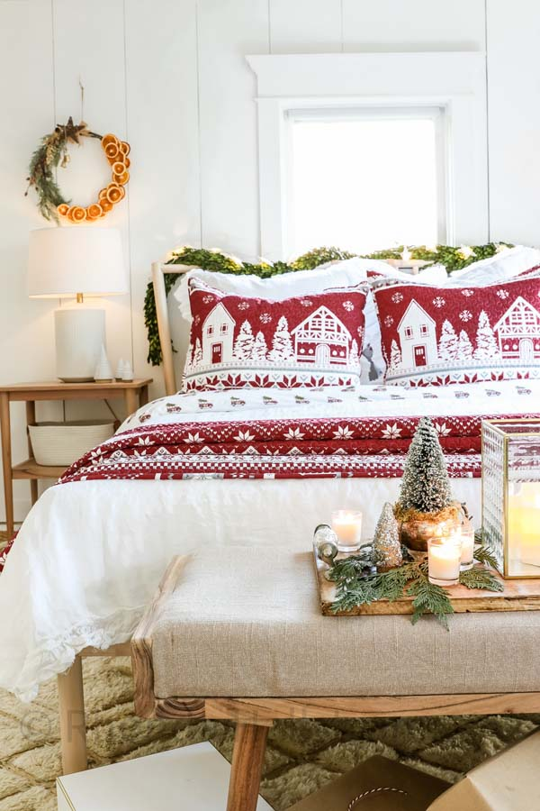 Hygge Scandinavian Christmas Bedroom |Holiday Bedroom|Christmas Decor|Scandinavian Christmas|Farmhouse Christmas|Hygge Decor|hygge Christmas Decor|Christmas Decorations|White Winter|HallstromHome