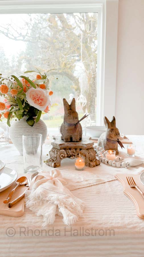 Simple Farmhouse Valentine's Day Tablescape |Valentines Day | how to decorate for valentines day | romantic table | shabby chic table scape | farmhouse table scape | french country decor | family valentines day | easy table setting | simple table scape | Spring bunny | bunny table scape | | HallstromHome